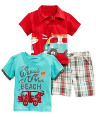Nannette Baby Boys' 3-Piece Tee, Polo & Shorts Set