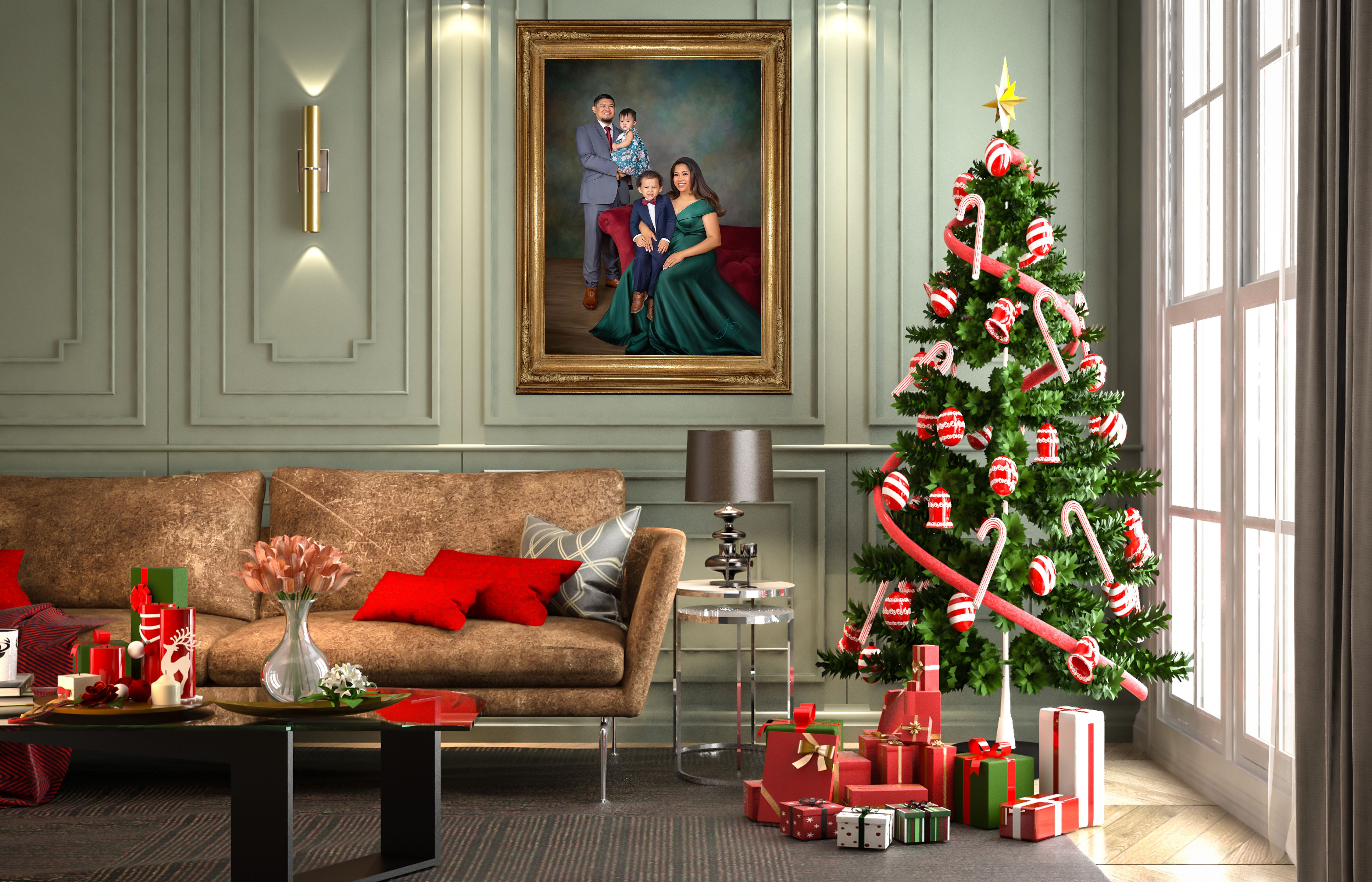 The Perfect Holiday Setting Imagine Your Living Room Looking Like This Celebrate Your Family Art In 2021 Holiday Decor Decor Christmas Images Holiday living room background