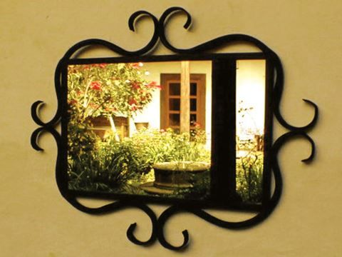 Wrought Iron Mirror Frame with Curved Details | Mirrors | Pinterest ...