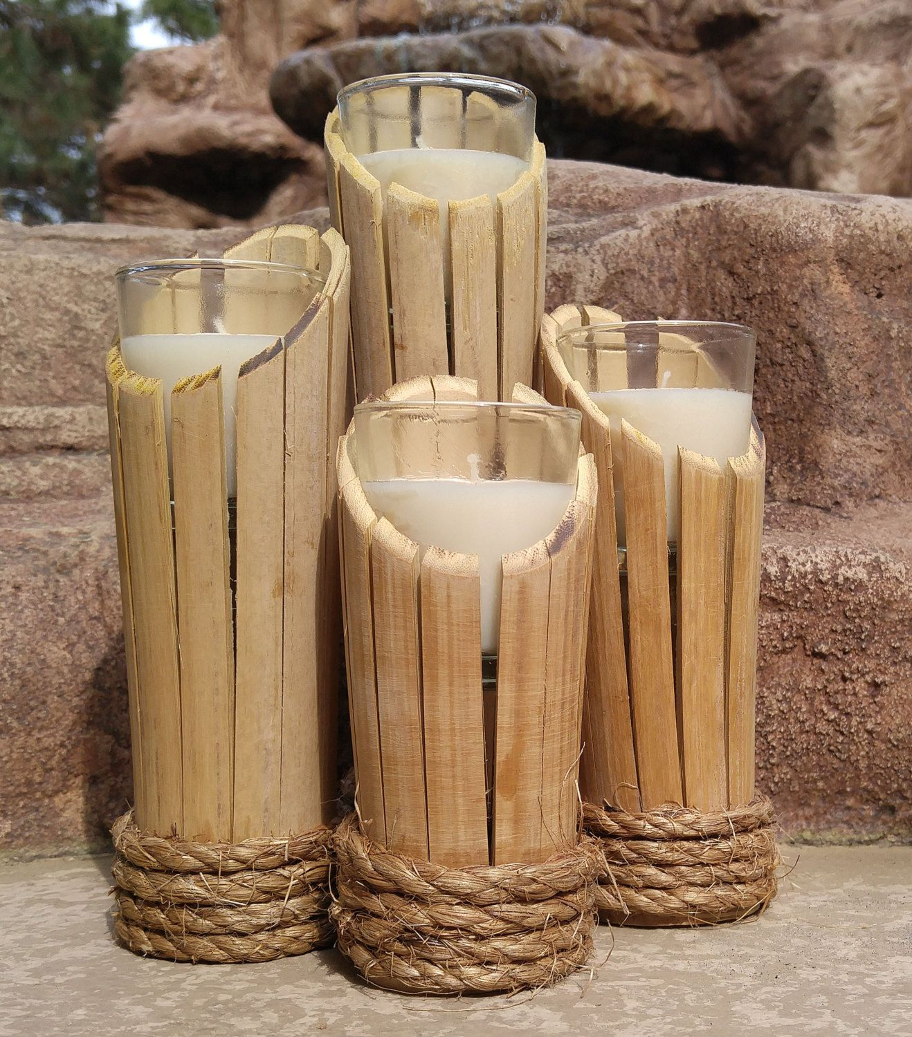 Bamboo candle holders by wildbydezine on etsy art for Crafts using bamboo