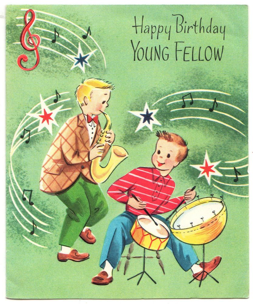 1950s VINTAGE BIRTHDAY GREETING CARD WITH TEEN BOYS PLAYING MUSIC IN A BAND LustreLane