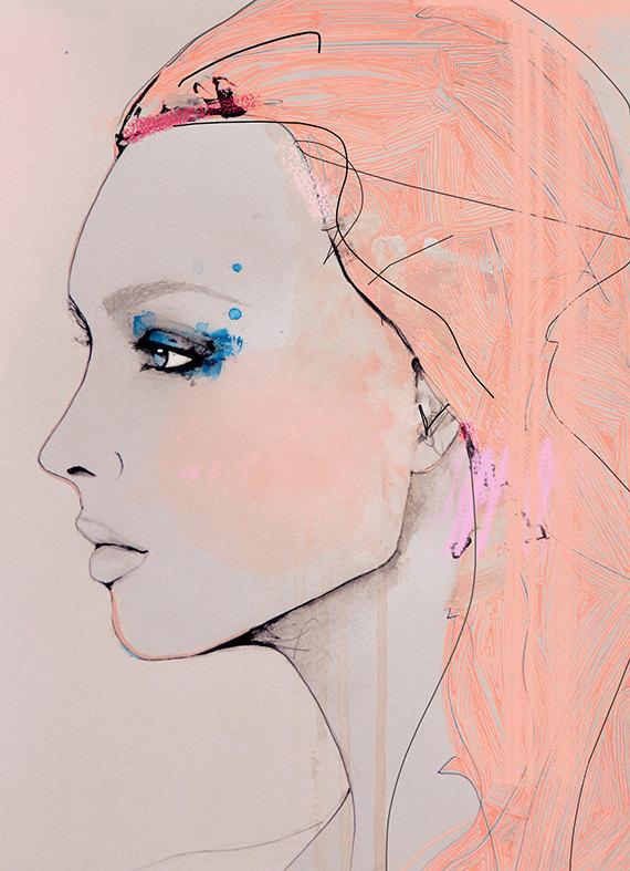 Fragmentary  Fashion Illustration Art Print Portrait by via Leigh Viner via etsey.com