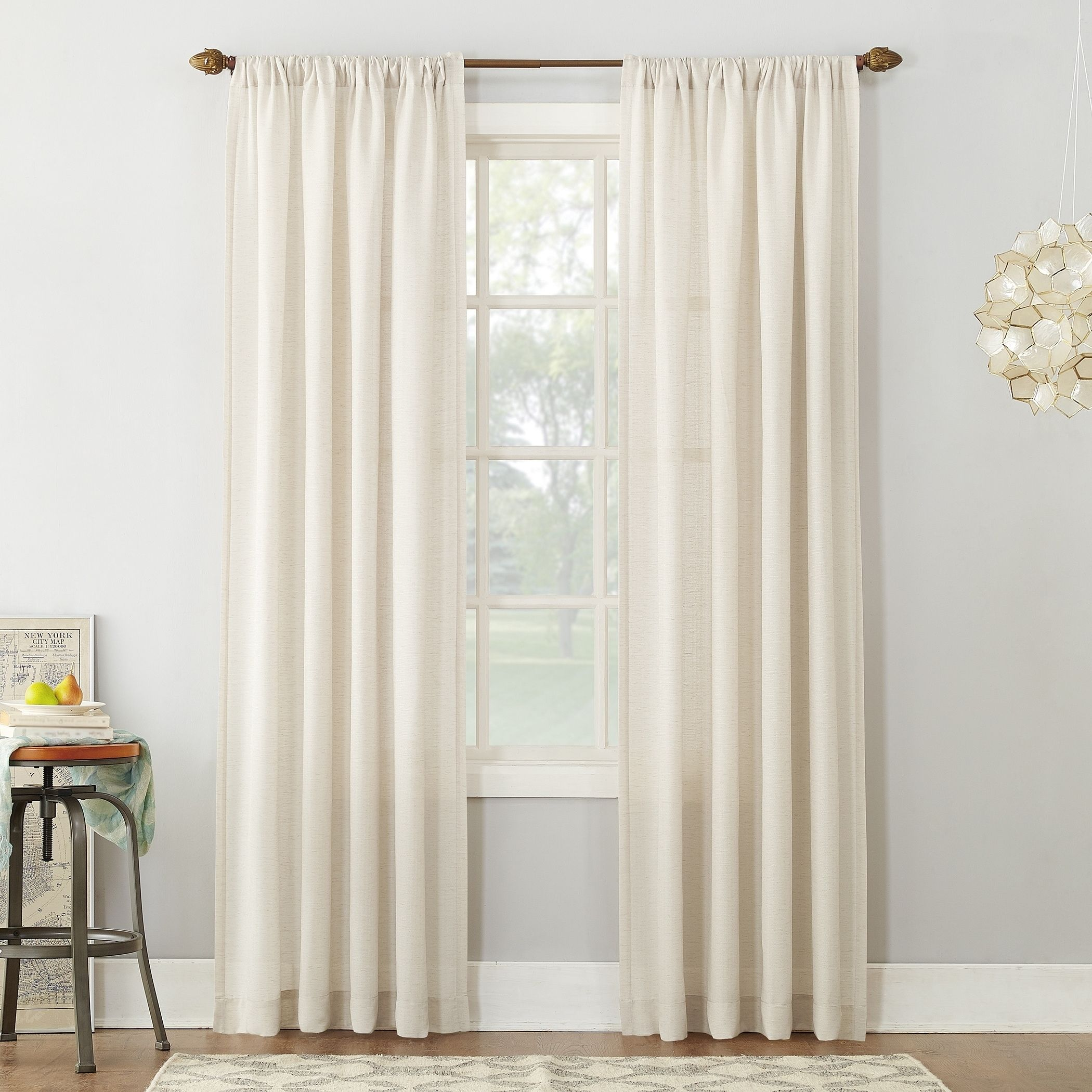 beautiful Textured Sheer Curtains Part - 20: 918 Amalfi Linen Blend Textured Sheer Rod Pocket Curtain Panel (Ivory - 84  Inches - 54X84) (Polyester, Solid)
