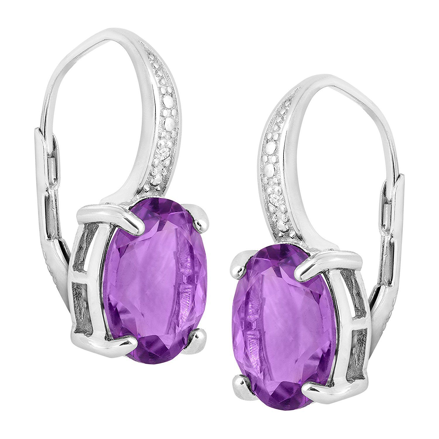 4 3 4 ct Natural Amethyst Leverback Earrings with Diamonds in