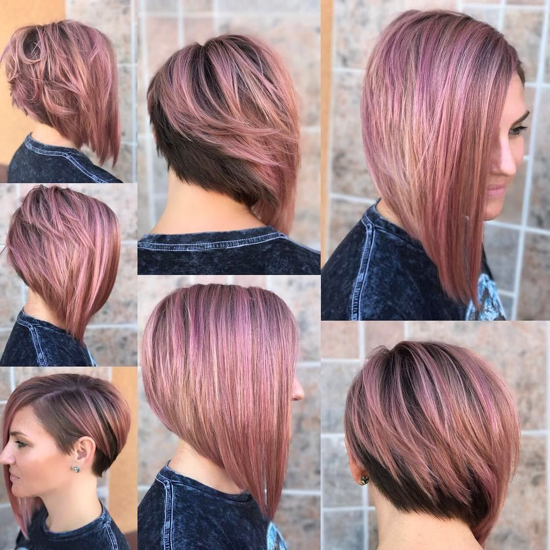 Chic Asymmetrical Bob With Rosy Brown Color And Highlights The Latest Hairstyles For Men And Women 2020 Hairstyleology Asymmetrical Bob Haircuts Medium Hair Styles Long Bob Hairstyles