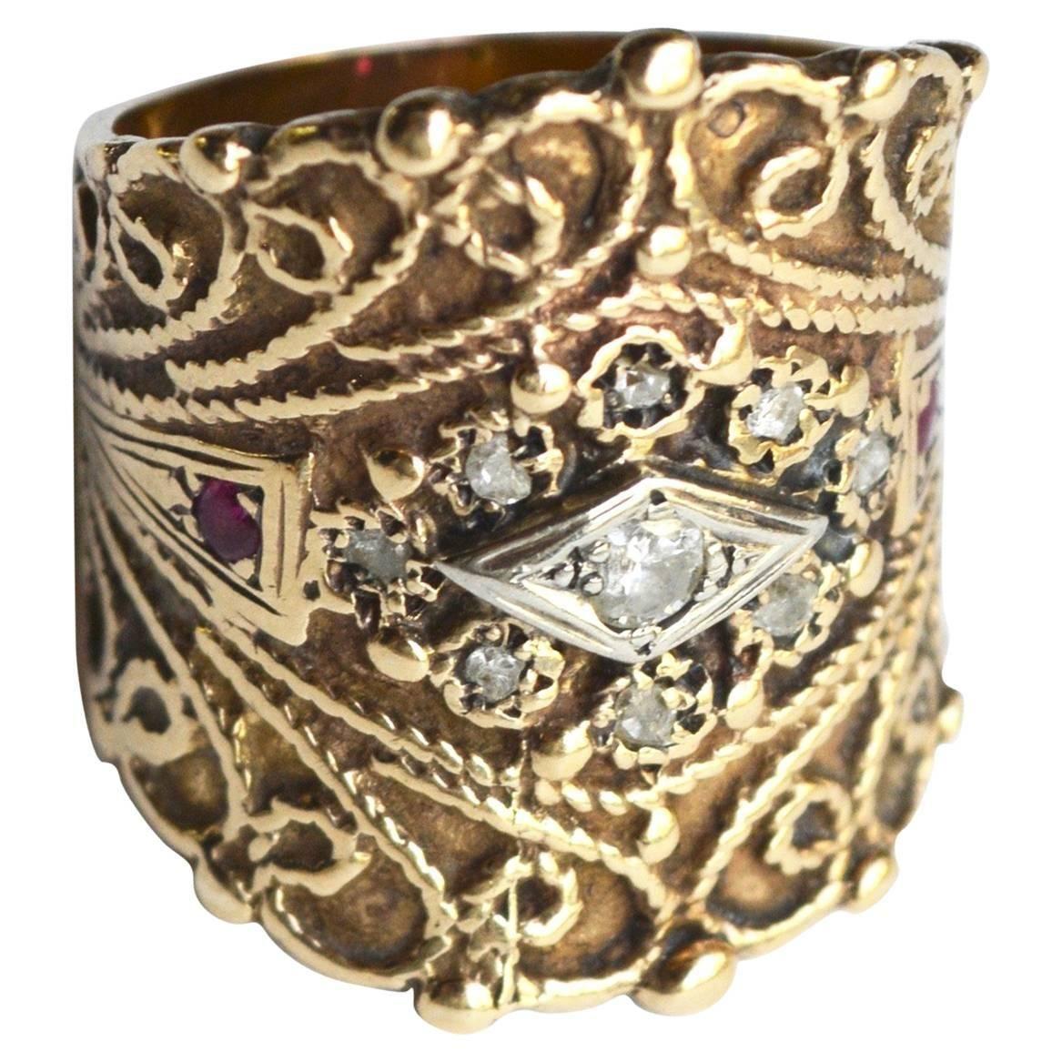 14k Circa 1940s Cigar Band Ring Cigar band ring, Gold