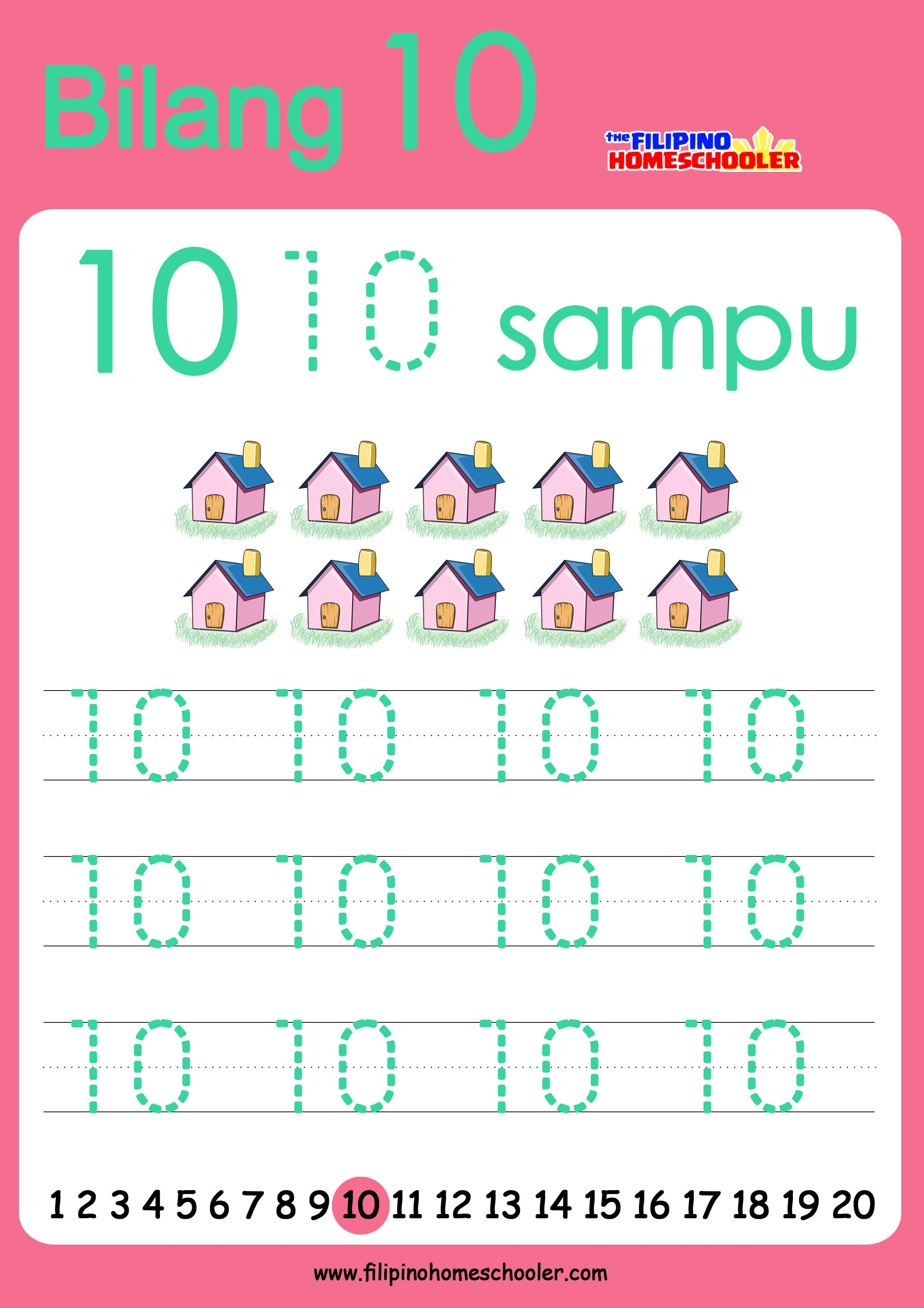 Free Filipino Numbers Worksheets From 1 10