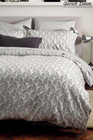 Secret Linen Fern Graphite Duvet Cover From The Next Uk Online