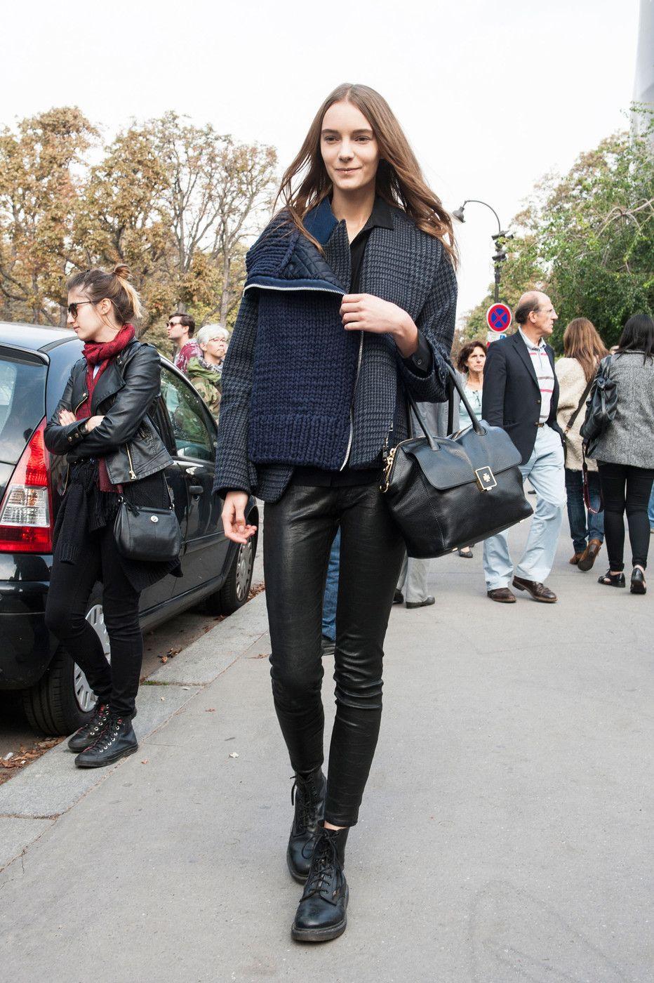 great jacket & leather legs. #IrinaLiss #offduty in Paris.