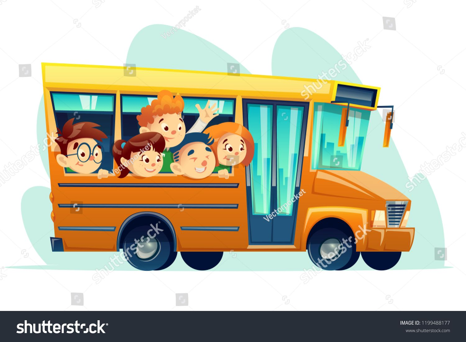 Cartoon School Bus Full Of Smiling Kids Yellow Retro Vehicle With