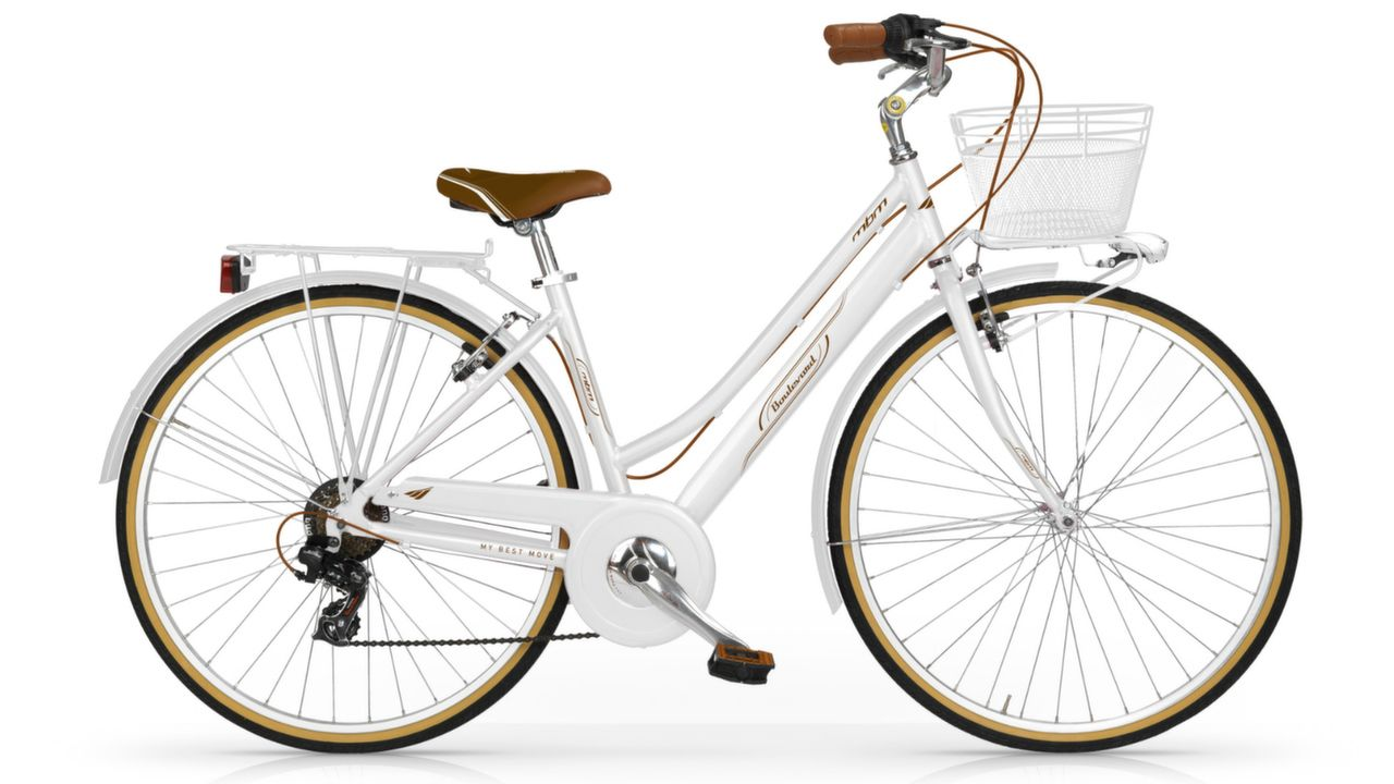 "dámsky retro bicykel MBM Boulevard 6SP 28"" - perleťovo biely"