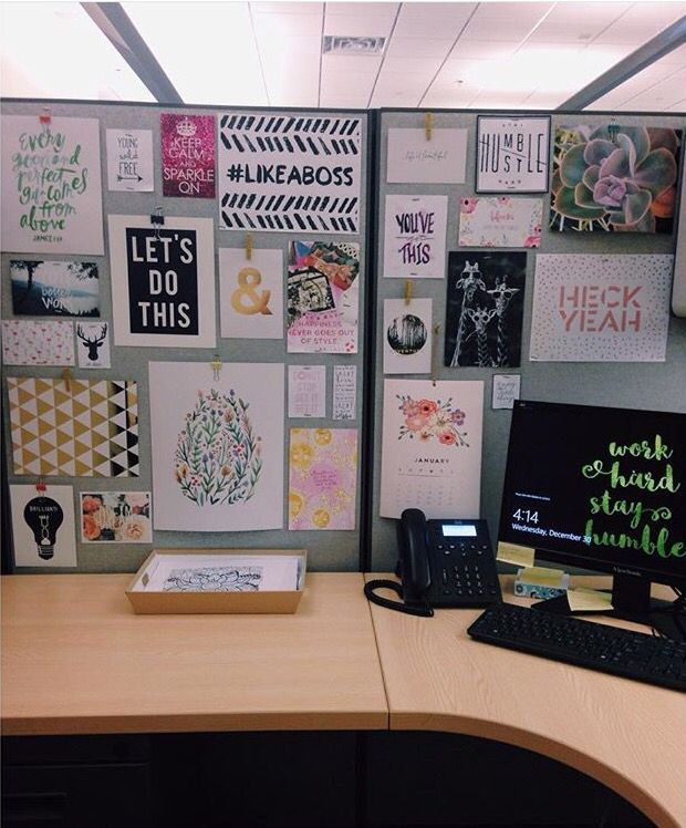 cubicle decor makes work more enjoyable! This same arrangement could be  used on a note board on any office wall