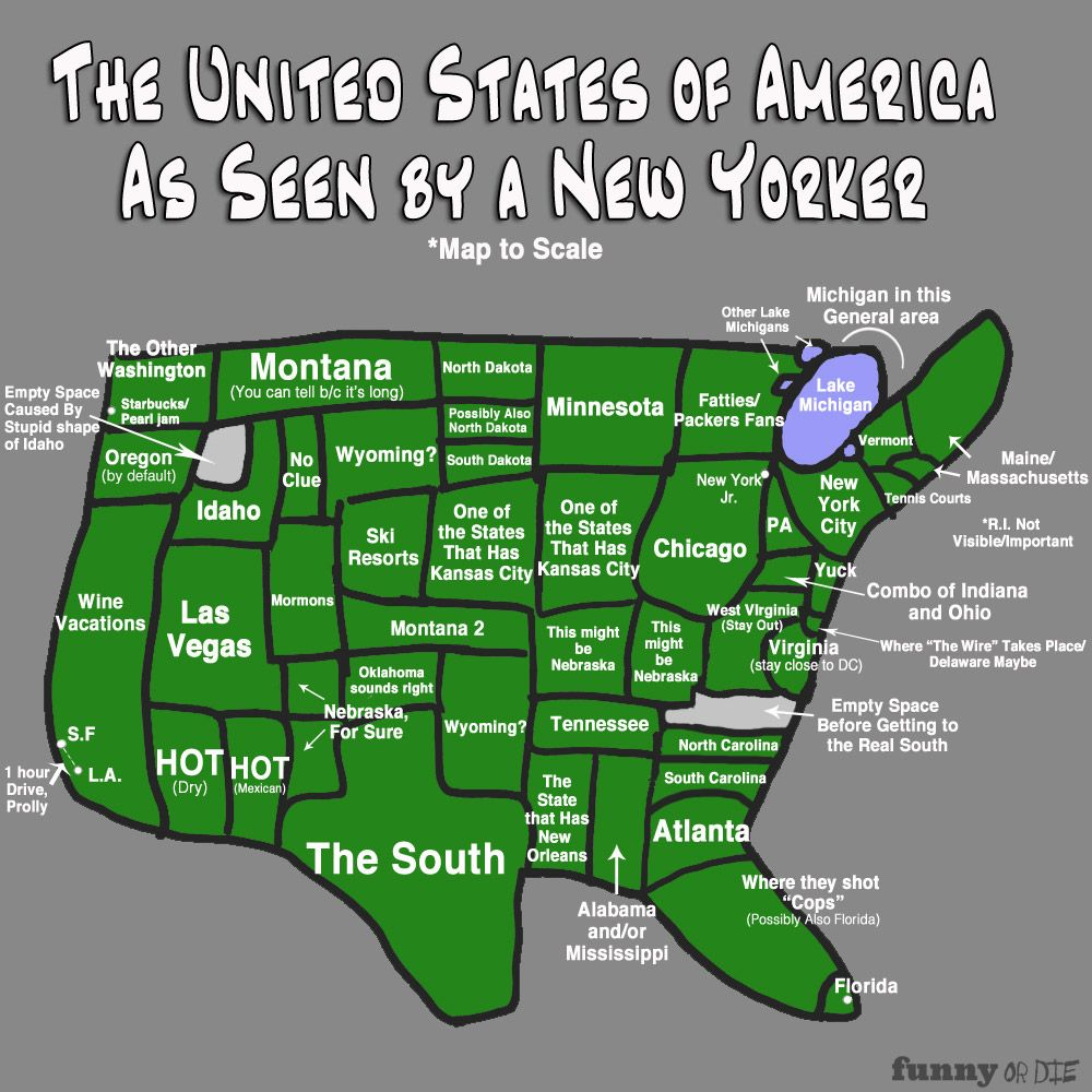 The Map Of America As Seen By A New Yorker | Laugh out Louds ...