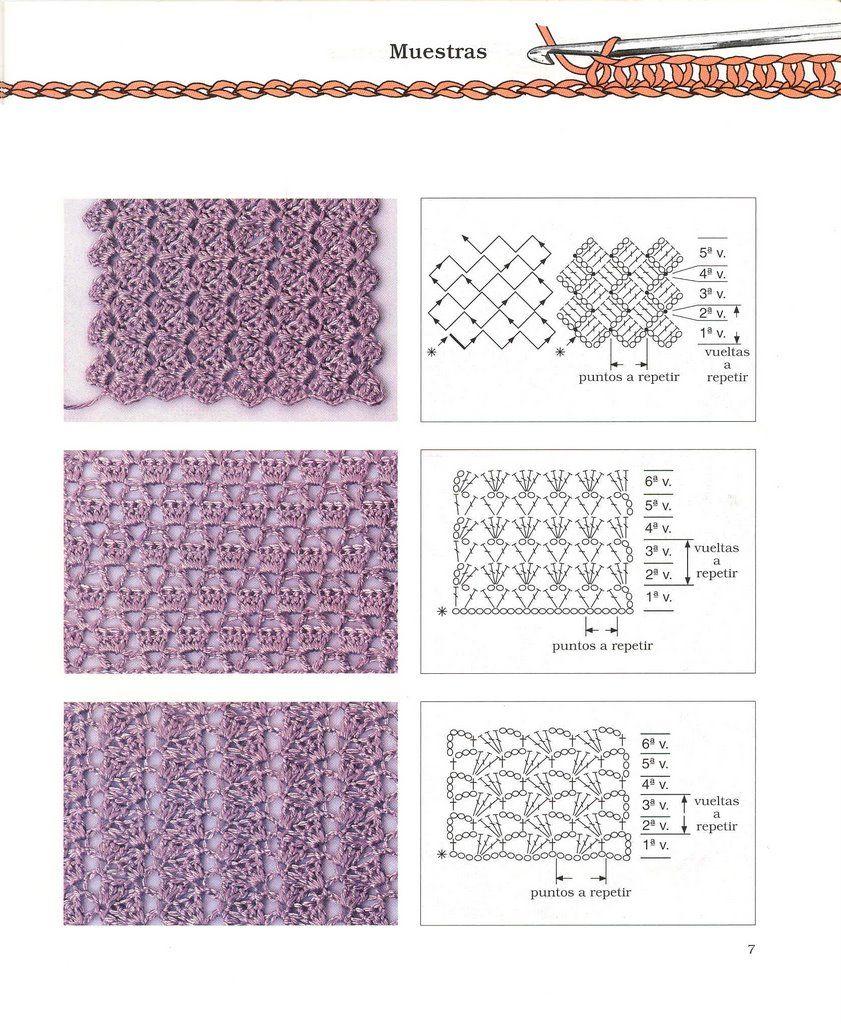 Puntos Diagramas Esquemas Patrones Crochet Ganchillo | Esquemas a ...