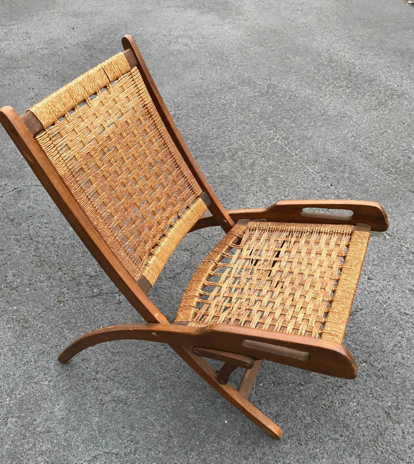 Hans Wegner Style Mid Century Danish Teak Folding Chair
