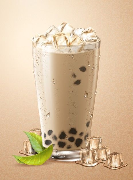 Photo of Cold Bubble Tea With Ice Cubes And Green Leaves In Glass Cup