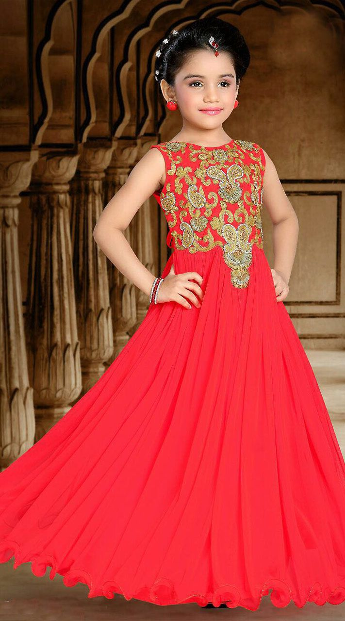 6b79c4be6 Red Net Kids Girl Designer Embroidered Gown DTK2352