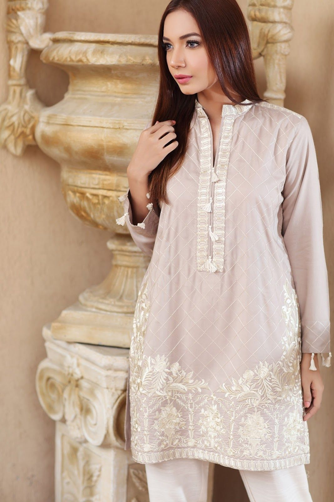 8ec8057a4a Origins Pret Winter Collection 2017 EMBROIDERED KURTA Product Sku: 16W62  with model Zara Khan