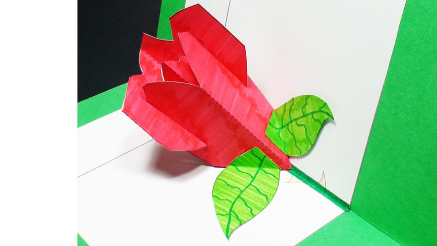 How to make a rose pop up card kirigami 3d valentines day greeting rose pop up card m4hsunfo