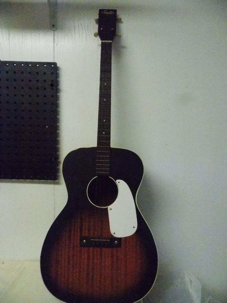 vintage 1960s stella harmony acoustic parlor f 64 string guitar usa harmonystella vintage. Black Bedroom Furniture Sets. Home Design Ideas