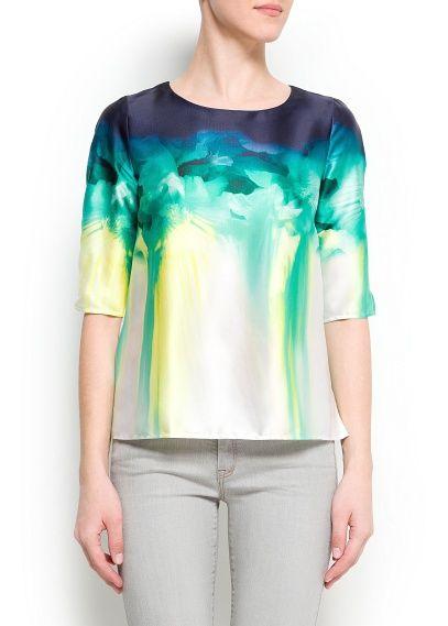 Watercolor floral print blouse