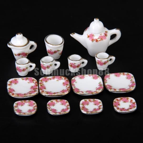 15 x Puppenhaus Miniatur Porzellan Teeservice Teller Tasse Set - Square Plate