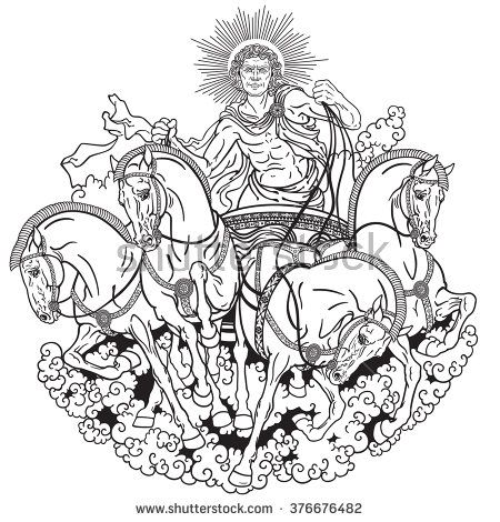 Helios Personification Of The Sun Driving A Chariot Drawn By Four