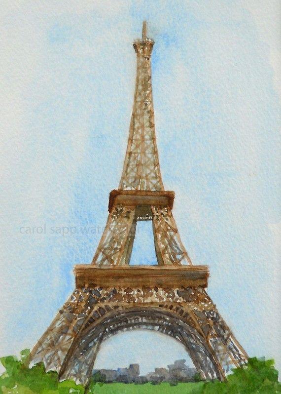 Eiffel Tower Paris France Landscape Watercolor Fine Art Print 8