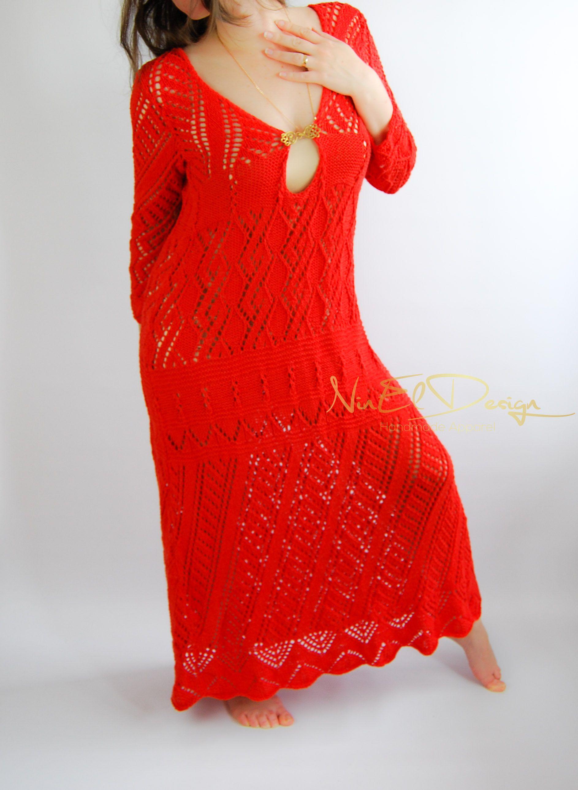 Festival maxi dressred dresslong sleeve wedding dresscrochet maxi
