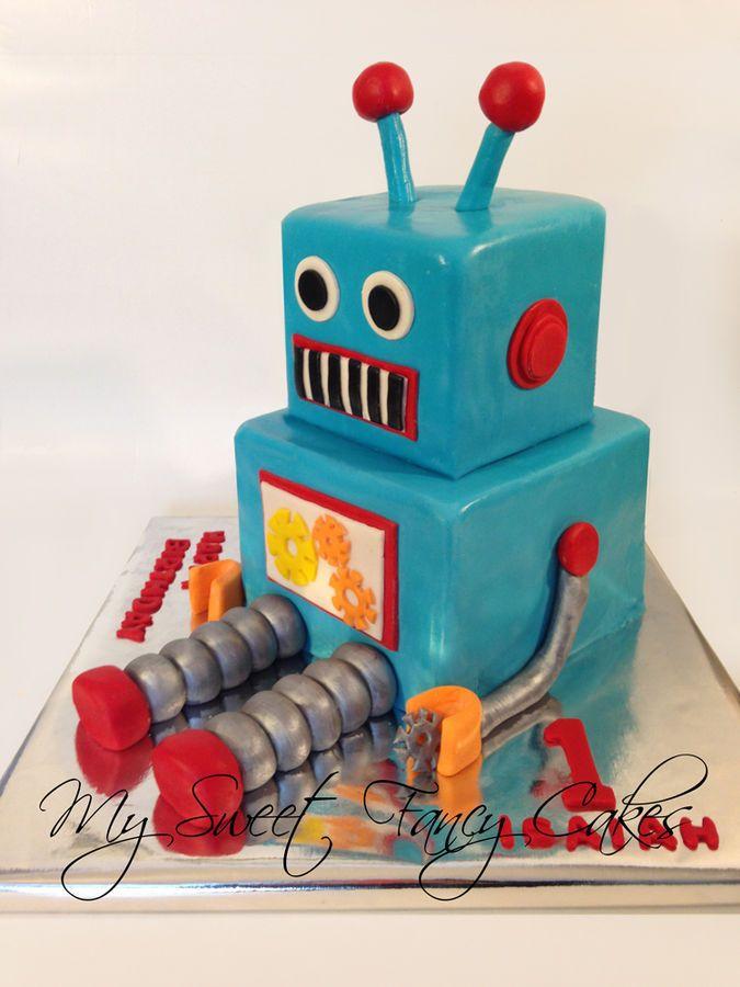 Awe Inspiring Robot Birthday Cake With Images Birthday Cake Kids Boys Funny Birthday Cards Online Alyptdamsfinfo