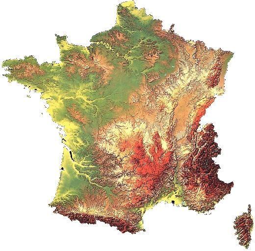 Carte du relief 3D de France | Carte relief, Carte de france région, Carte de france