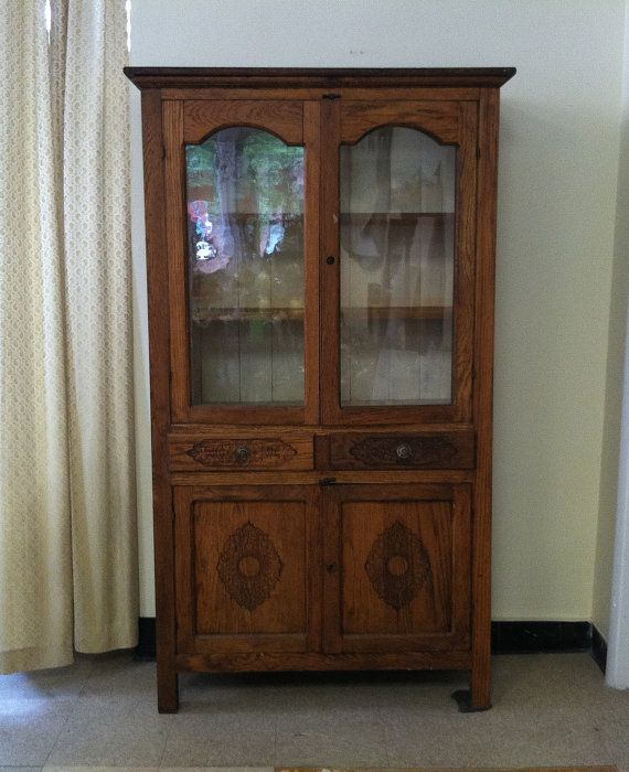 Late 1800u0027s Antique Oak Pie Safe Cabinet Cupboard Hutch With Screen Vent  Side Panels