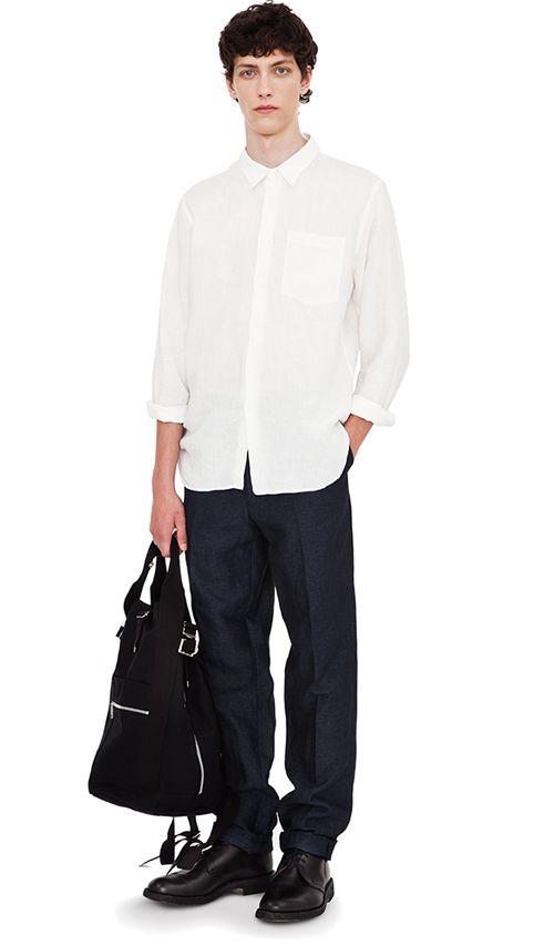 Off-white linen shirt, indigo linen narrow trouser, black cotton rucksack (Yoshida), black leather boot