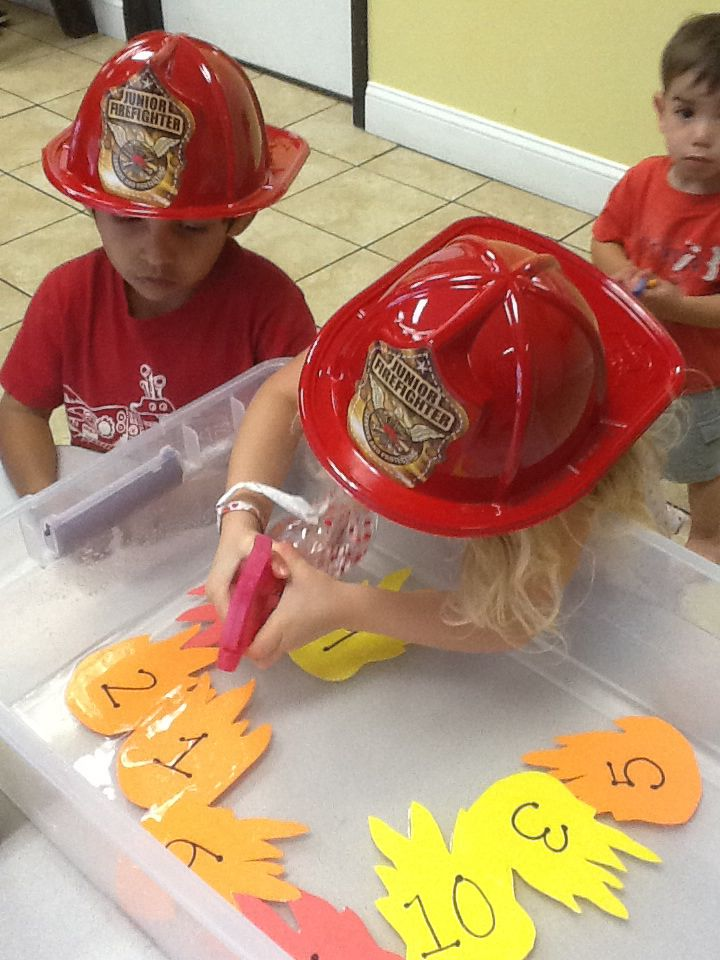 62d921656 Great activity for a firefighter theme week at preschool. The kids loved  spraying out the fire!