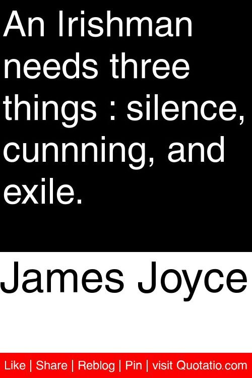 James Joyce - An Irishman needs three things : silence, cunnning, and exile. #quotations #quotes
