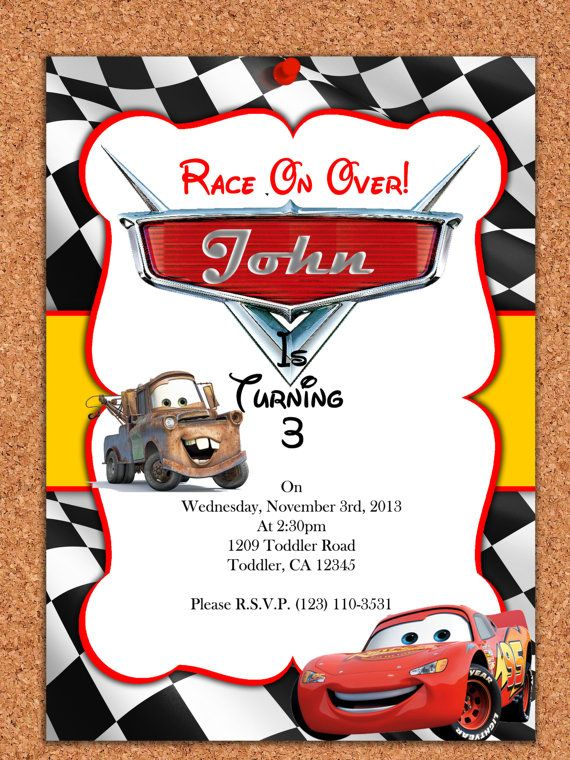 Printable Invitation Disney Cars Invitation Cars Invite Disney