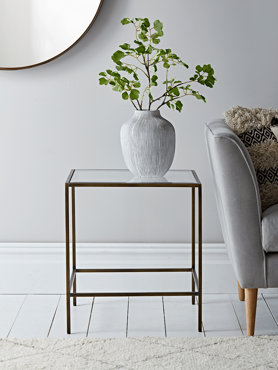 Glass Display Side Table Aged Bronze Glass Bedside Table Side Table Decor Glass Side Tables [ 1200 x 900 Pixel ]