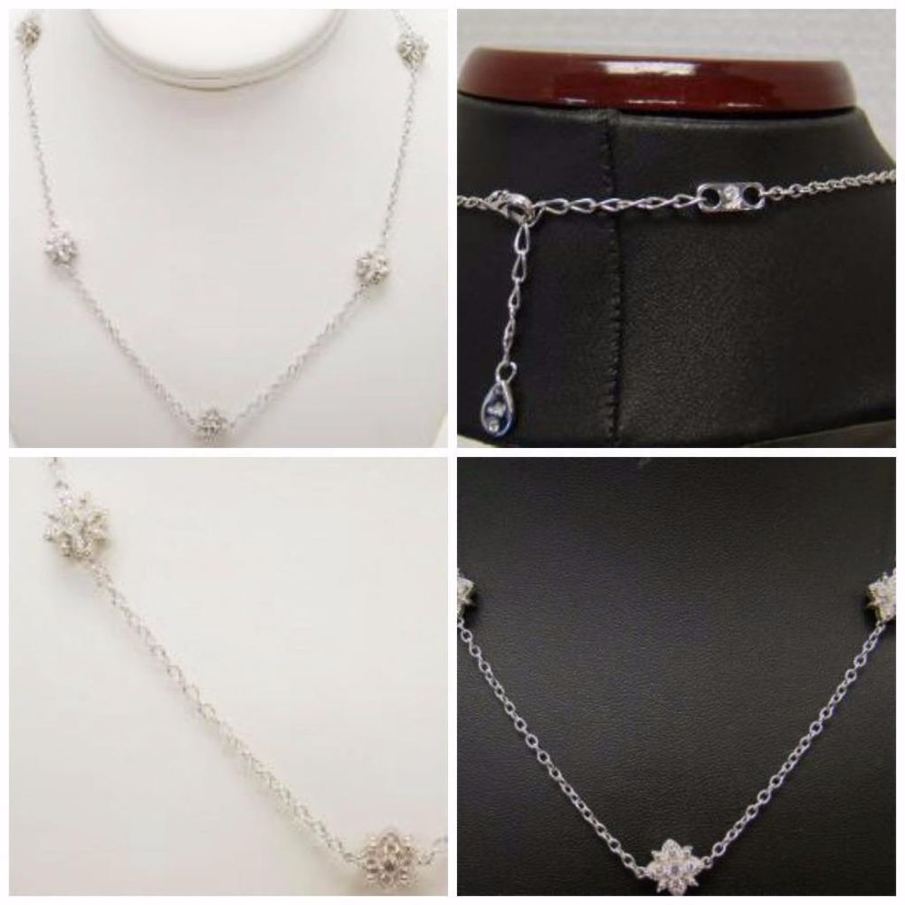 """925 STERLING SILVER NECKLACE GENUINE WHITE SAPPHIRE CLUSTER UP TO 20"""" ADJUSTABLE #Cluster"""