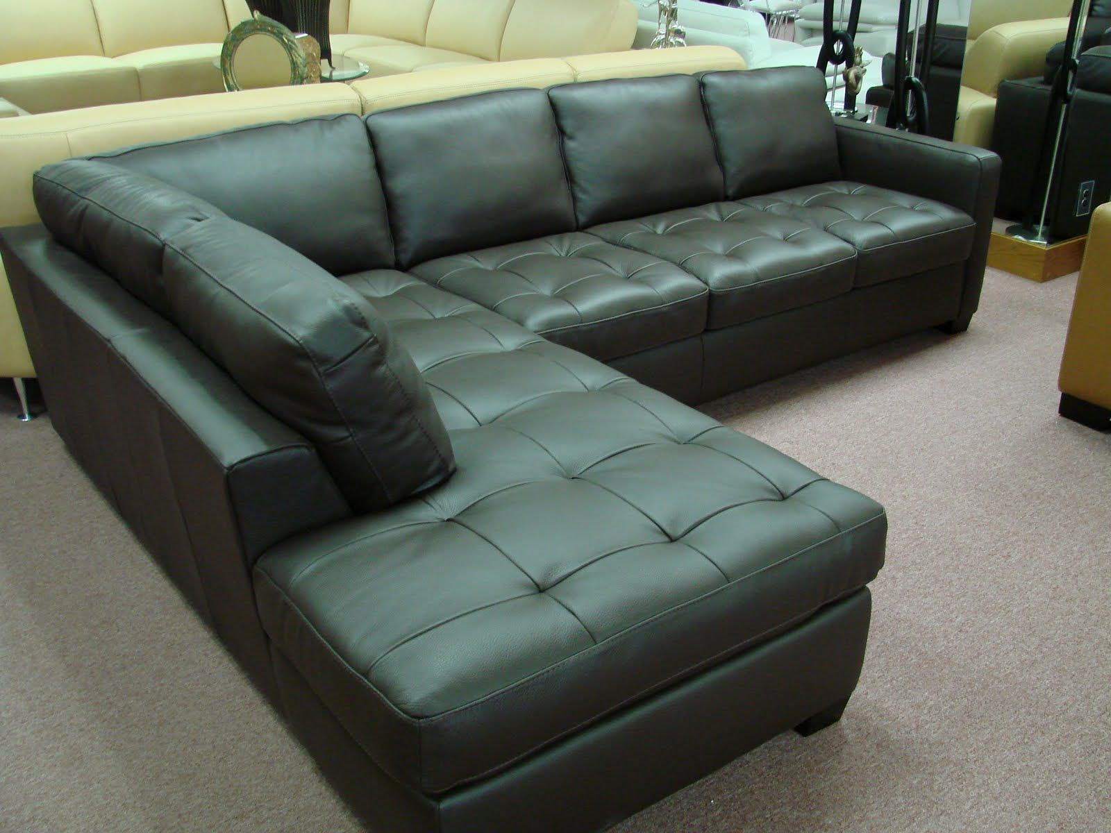 natuzzi i276 black leather sectional