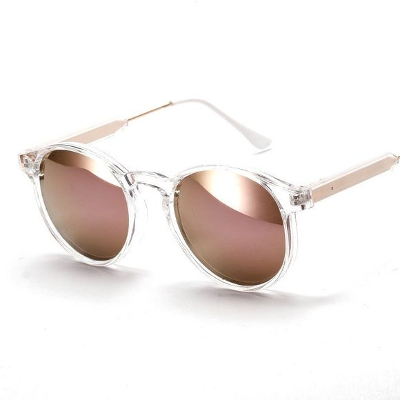 317ed4e23c Clear Frame Rose Gold Mirrored Sunglasses Clear frame rose gold sunglasses.  Metal Frame UVA UVB protection Frame width  140mm Lens height  60mm Lens  width  ...