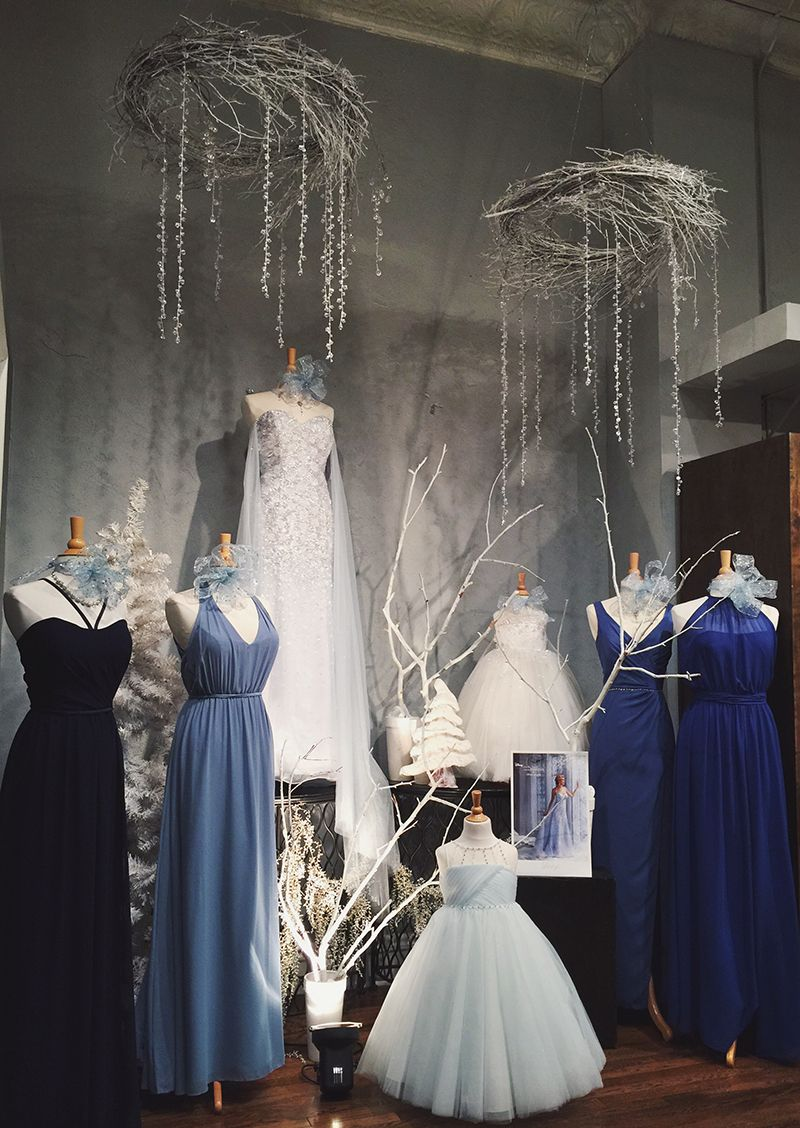 Christmas dress boutiques - Elsa And Frozen Themed Wedding Dress Window Display From Normans Bridal Shoppe In Lebanon Missouri Store Displayswindow Displayschristmas
