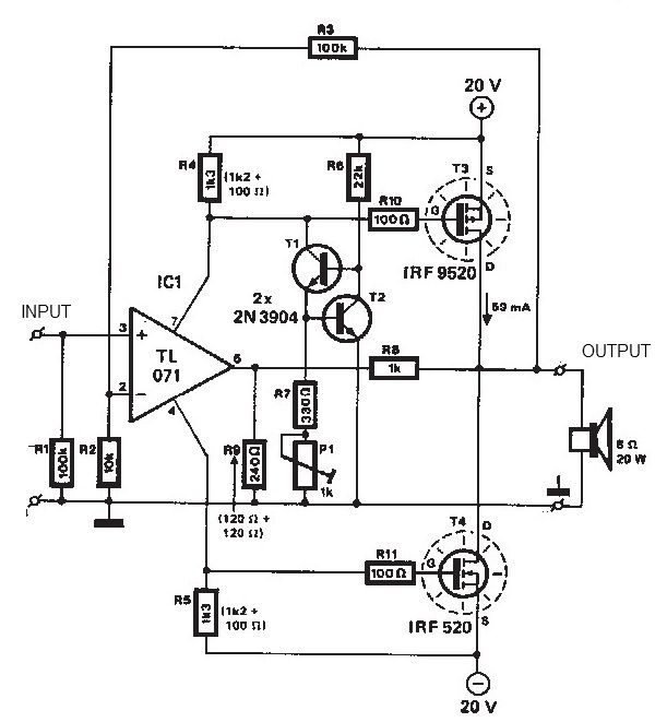 20   20 watts mosfet audio amplifier circuit diagram