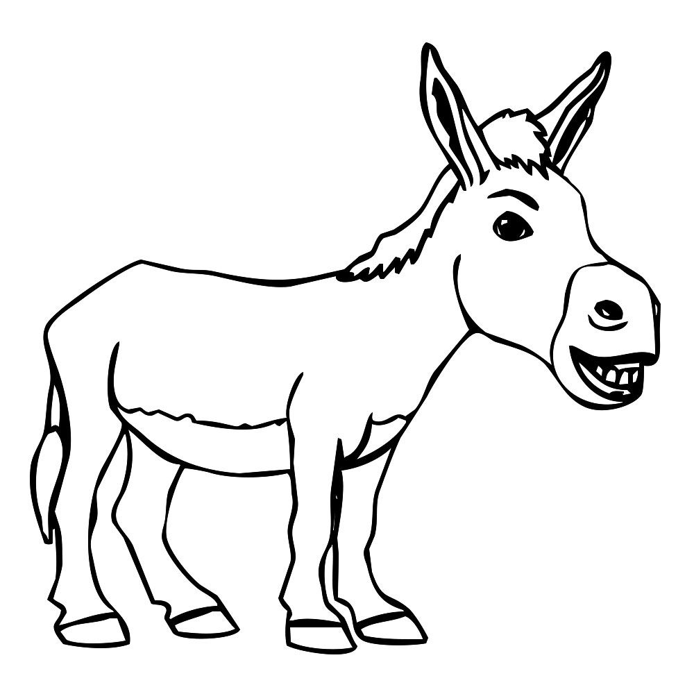 Line Drawing Donkey : Donkey cartoon drawing in steps with photoshop