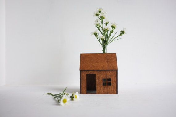 Bud vase wooden house small honey colored structure with by 2of2... This entire shop is amazing.