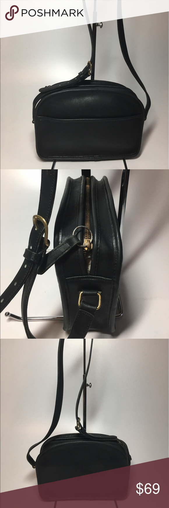 Coach Crossbody Black Leather Bag Purse Black leather