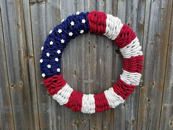 Photo of Crochet American Flag Wreath PATTERN ONLY Independence Day decoration 4th of July Labor Day Memorial Day holiday patriotic easy veteran gift