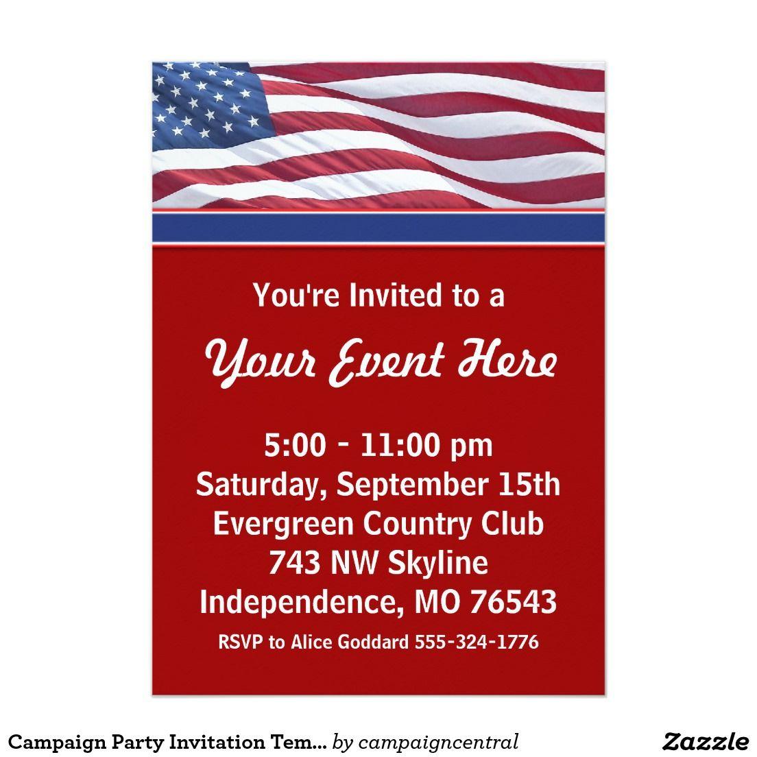 Campaign Party Invitation Template | Pinterest | Party invitation ...