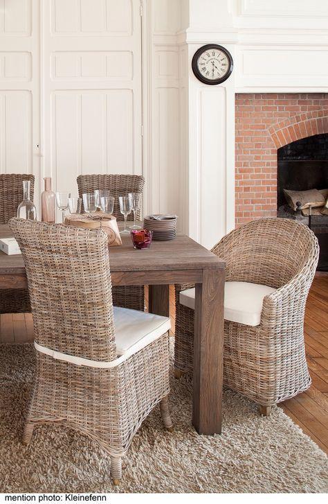 Salle à manger en rotin kooboo gris Chaise Amélie KOK Maison, bridge - table de salle a manger grise