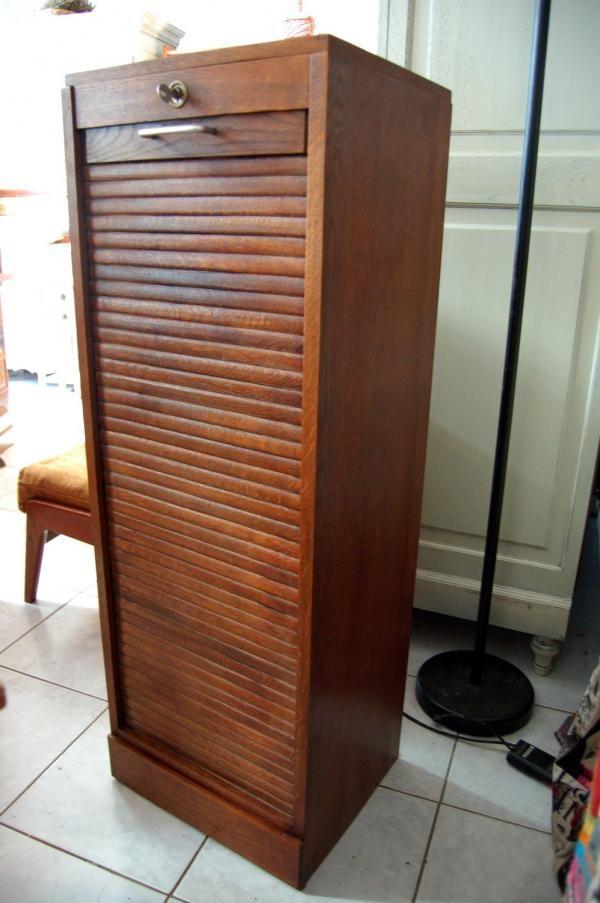 Meuble classeur à rideau vintage années 50 60 chêne ...