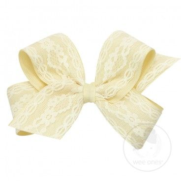 Medium grosgrain with lace overlay bow.